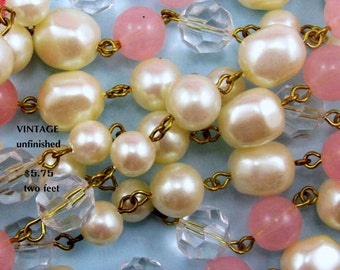 Vintage Pink and Pearl Lucite Beaded Chain (1) Foot