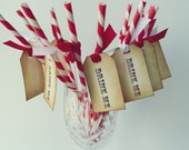 Custom Order - Tags and Mustaches- 20 Carnival Paper Straws- Drink Me Vintage Tags- Red White Stripes