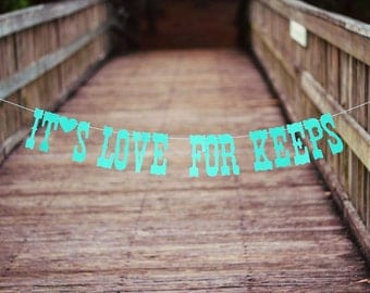 Engagement Banner- It's Love for Keeps- Tiffany Blue- Photo Prop/Decoration