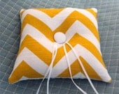 Tufted Ring Pillow - Bright Yellow Chevron Zig Zag With Button - Many Other Colors Available