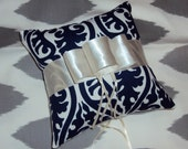 Ring Bearer Pillow Navy Blue and White With Ivory Ribbon - Can Customize Colors For You