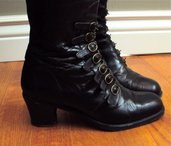 Vintage Black Italian Leather Military Style Boots - Size 7 1/2