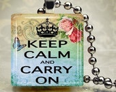 Keep Calm Carry On altered art glass charm scrabble style pendant SUMMER SALE  NOW 2.99