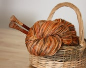 Hand Dyed Yarn / Worsted Weight / Russet Pumpkin Burnt Orange Grey Autumn Superwash Merino Wool