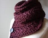 Knitting Pattern / Cowl Shoulder Warmer / Bordeaux / Chunky Oversized