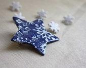 Brooch Shawl Scarf Pin / Navy Blue Star Winter Snowflakes