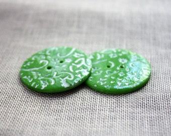 Buttons / Lime Spring Bright Green Lace Lacy Filigree / Handmade Button Notions