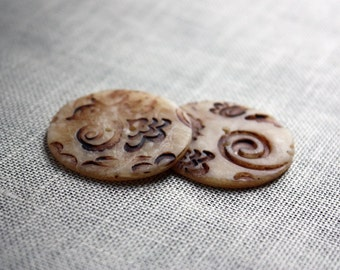 Handmade Buttons / Beige Camel Neutral Sepia Antiqued Rustic Filigree / Handcrafted Polymer Clay Button