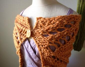 Knitting Pattern / Chunky Modern Lace Cowl Capelet Wrap Super Bulky DIY Tutorial / PDF Digital Delivery / Regalia