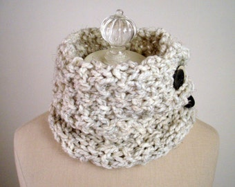 Knitting Pattern / Chunky Cowl Neckwarmer / Beginner Easy Level Knitting DIY Tutorial / Granite / PDF DIGITAL Delivery