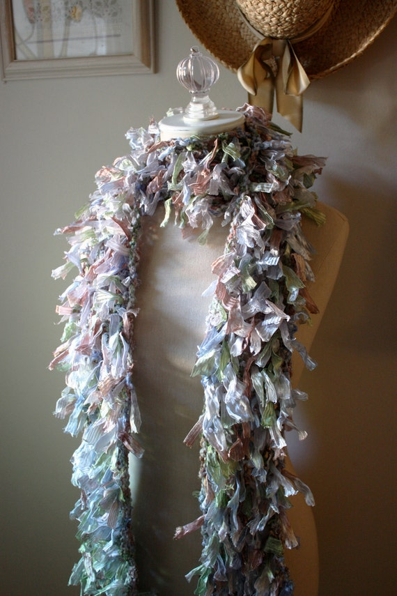 Scarf / Pale Sage Lilac Mauve / Hand Knit Ribbons NEW