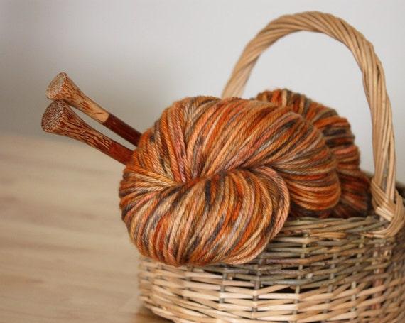 Hand Dyed Yarn / Worsted Weight / Russet Pumpkin Burnt Orange Grey Autumn Superwash Merino Wool