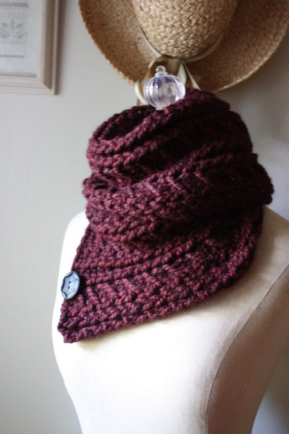 Knitting Pattern / Cowl Shoulder Warmer / Bordeaux / Chunky Oversized