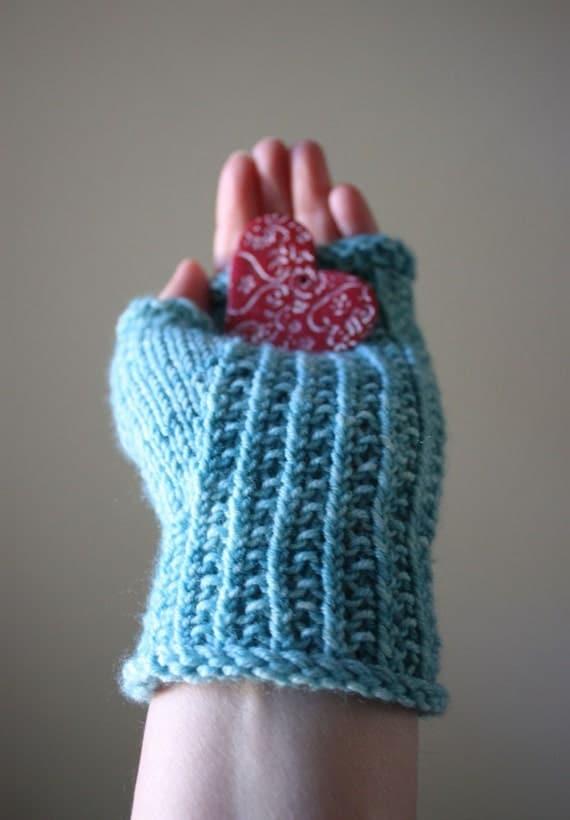 Knitting Pattern Ribbed Fingerless Gloves : Knitting Pattern / Fingerless Mittens Mitts / Twisted Rib