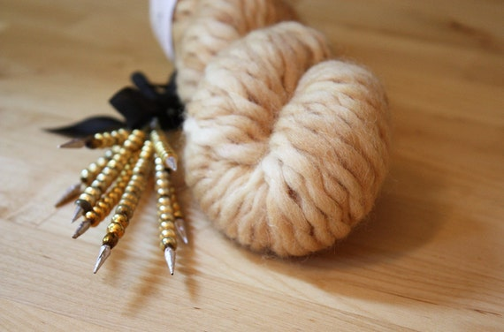 Hand Dyed Yarn / Super Bulky / Pale Gold Sand / Semisolid Wool