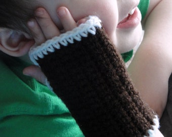"Brown and White ""Chocolate"" Wrist Warmers"