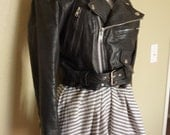 Classic Black Leather Biker Jacket Size M