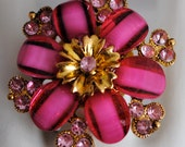 Striking cocktail ring gold hot pink  button ooak women's gift holiday statement expandable stocking stuffer Christmas