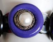 Bold Purple Button Bracelet/Charm Bracelet/Statement Bracelet/Pearl/Purple/Black/Silver/Gift For Her/OOAK/Special Occasion/Under 30 USD