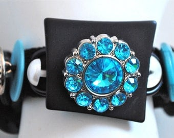 Turquoise Button Bracelet/OOAK/Charm Bracelet/Statement Bracelet/Black/Silver/Pearl/Gift For Her/Expandable/Under 50 USD