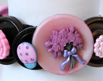 Sweet Button Bracelet/Charm Bracelet/ Pink/Brown/Spring/Summer Jewelry/OOAK Bracelet/Statement Bracelet/Expandable/Under 35 USD