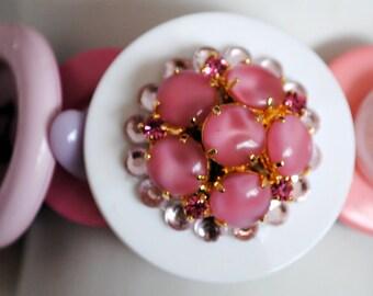 Pink Button Bracelet/Charm Bracelet/Statement Bracelet/Gift For Her/OOAK/Pastel/Summer Jewelry/Expandable/Under 35 USD