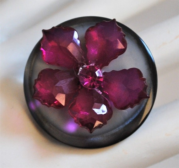 Floral Fuchsia Statement Ring/OOAK/Gift For Her/Gray/Black/Under 15 USD/Adjustable