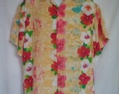 Vintage Hawaiian Shirt by Jams World with Flowers size Medium
