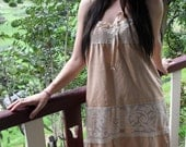 COFFEE lace and silk DRESS  sm / med