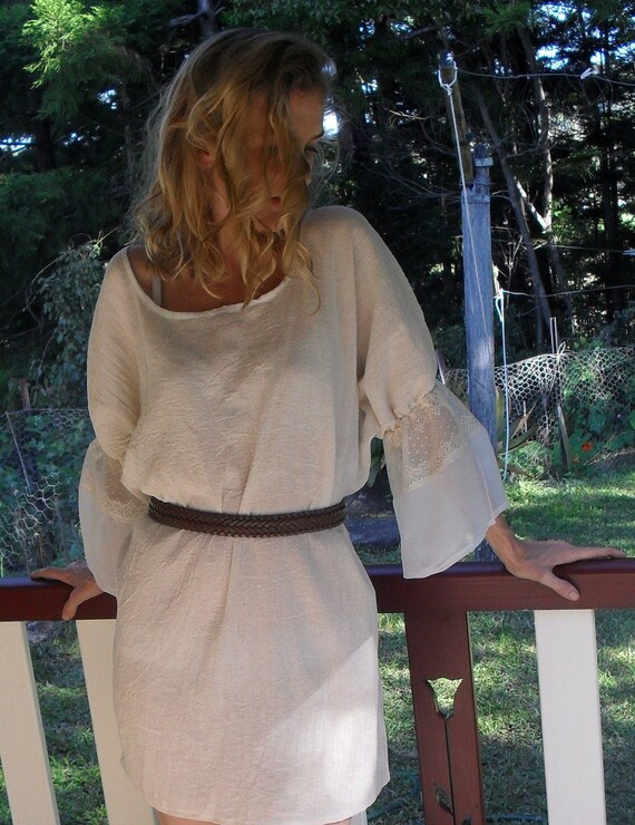 Bohemian Tunic, mini muslin dress, long top, X large, plus size