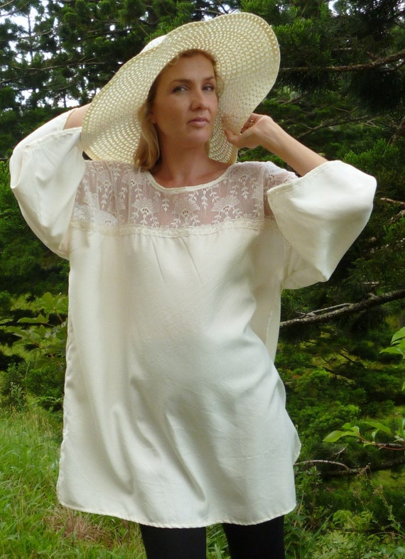 silk tunic top w stunning vintage lace, kimino styled dress, maternity, XL, plus size