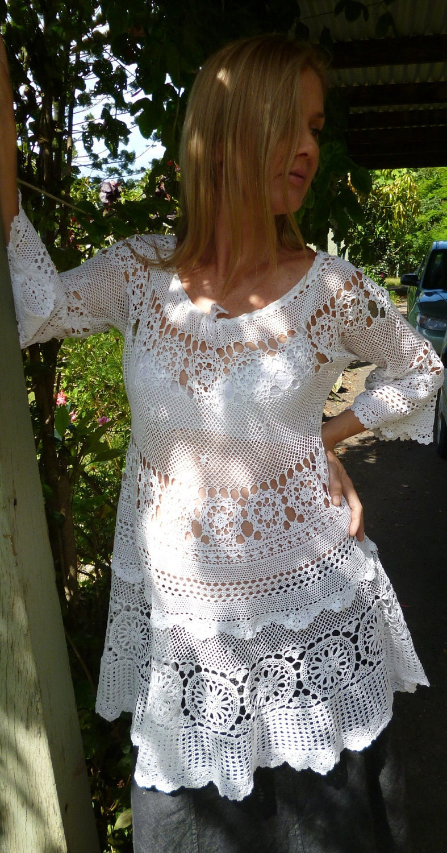 Bohemian Maternity Dress White Crochet Tunic Osfm