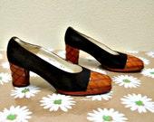 Spectator Heels Vintage 60s Shoes Size 6