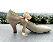 Wedding Shoes - Ivory Wedding Shoes - Pink Wedding Shoes - Vintage Mary Jane Shoes - Mary Janes  - Size 8.5 to 9