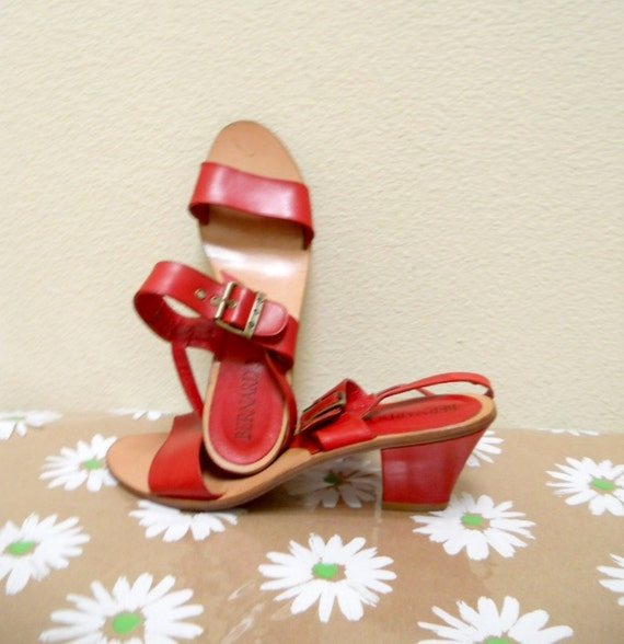 Red Shoes Vintage Leather Sandals with Heels Size 9