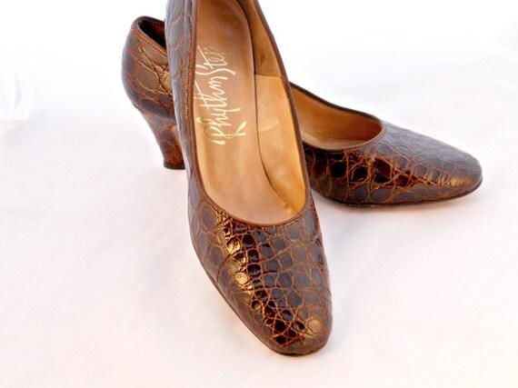 Vintage Alligator Shoes Mad Men 60s Size 7 Narrow
