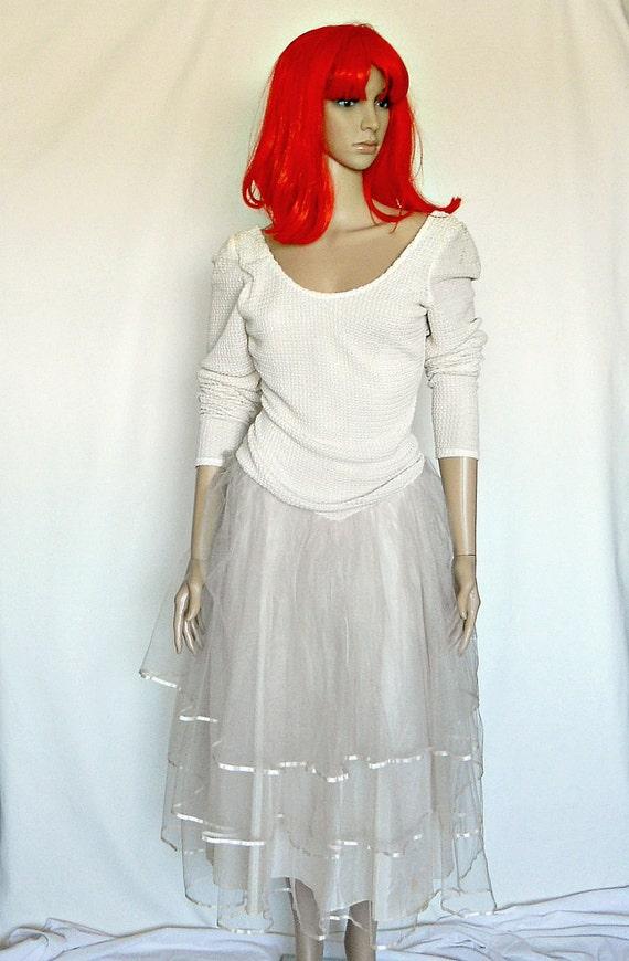 Tutu Dress - Ivory Wedding Dress - 1980s Prom Dress - Ruched Dress - Small