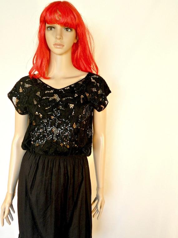 Black Sequin Dress - Boho Dress - Indonesian Dress - Size Medium - Lace Dress - Summer Dress Women - Black Dress