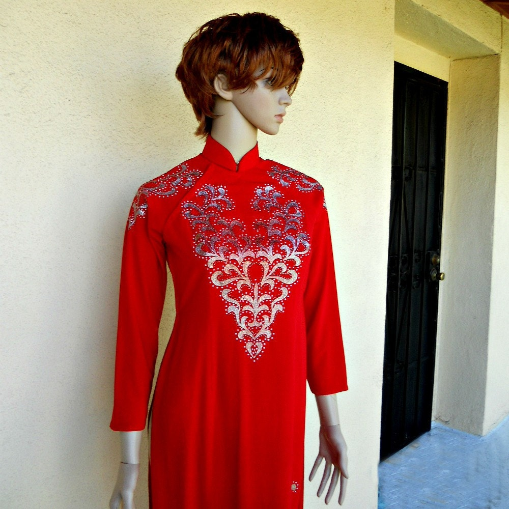 Vietnamese Wedding Gown: Ao Dai Vietnamese Wedding Dress Red Dress Cheongsam