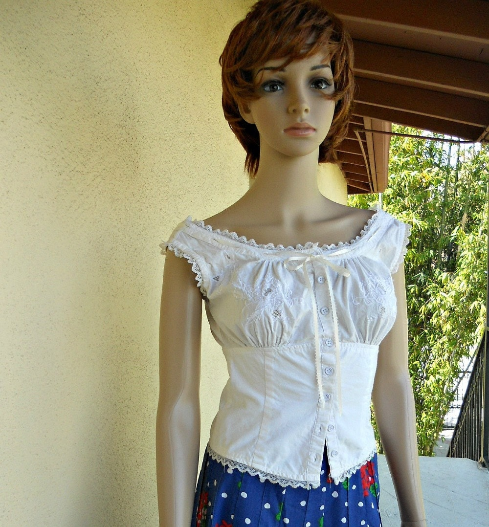 Hippie Boho Top Steampunk Blouse Embroidered By Vintagefriends