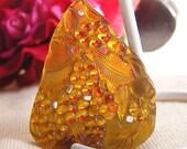 35% OFF - Vintage Glass Pendant. Art Nouveau Molded Glass. Topaz, Amber Glass Antique. 1X