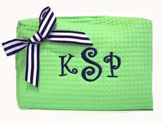 Waffle Weave Monogrammed Cosmetic Bag - Personalized Makeup Bag  Design Your Own
