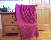 """SALE! Magneta Pink Hand CrochetThrow Blanket, Pink Afghan, 59""""x40"""" Adult lap blanket, Solid color, couch sofa More colors @ CozyHomeCrochet"""