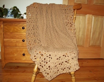 Topaz tan Hand Crochet Blanket, Throw Afghan Blanket, brown, Lacy, Lace, 60x40, couch sofa lap bed solid color More colors @ CozyHomeCrochet