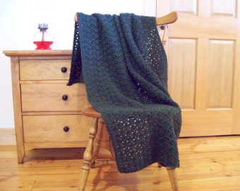 "Dark Green Crocheted Throw Blanket, Green Afghan Blanket, Crochet Blanket Deep Forest Green 58""x40"" Lap, couch sofa adult solid color"
