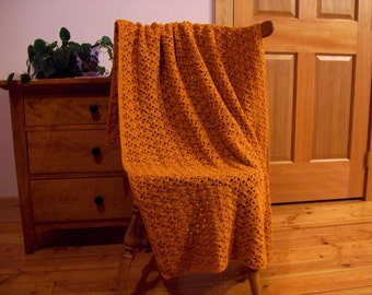 "SALE! Bronze Orange, Crochet Blanket, Hand Crocheted Throw, Afghan Blanket, 60"" x 39"" Gold One Solid Color Lap Throw, Sofa Couch Adult size"