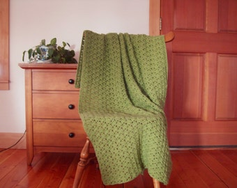 Fern Green Hand Crochet Throw Blanket, Afghan lap, 62x39 approx. adult, one solid color, sofa couch throw lapghan More colors In Shop