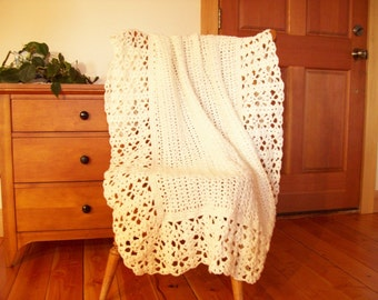 Winter White Hand Throw Blanket, Afghan Blanket, Lacy, off white, Lace 59x42 Lap Couch Bed Sofa Solid color More Colors shop CozyHomeCrochet