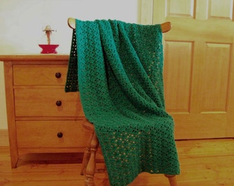 Emerald Green Hand Crocheted Blanket Throw Afghan, 58x41, Couch, Sofa Adult Lap One Solid Color **MORE** colors in shop **CozyHomeCrochet**