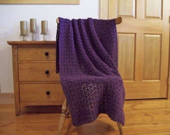 Purple Crocheted Blanket, Throw Blanket Afghan, cozy home crochet, Dusty Purple, 60 x 38, One Solid Color